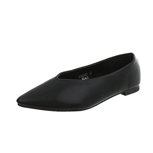 Ital-Design Klassische Ballerinas Damen-Schuhe Blockabsatz Schwarz, Gr 39, Xq55068-