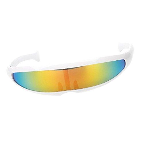 B Baosity Herren Damen Verspiegelte Sonnenbrille Futuristische Alien Cyclops Foto Prop Fotorequisiten - Weiß Gelb