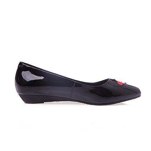 Adee Mesdames mignon Chaussures Pompes en cuir Noir - noir
