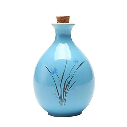 Mini chinesische Keramik Blumenvase Bud Vase Weinflasche, ideales Geschenk für Home Office, Dekor, Tischvasen, Bücherregal Ornamente Flaschen, Blaue Orchidee