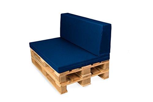 TexDeko Palettenkissen mit Rückenlehne, Palettensofa, Palettenpolster, Matratzenkissen (120x80x8cm) Indoor Outdoor für Europalette (Blau mit wasserabweisendem Bezug)