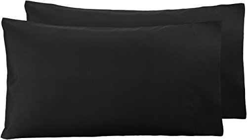 AmazonBasics - Funda de almohada de microfibra, 2 unidades, 50 x 80 cm - Negro
