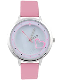 KMS Heart Print Dial Women's Baby Pink Analog Watches
