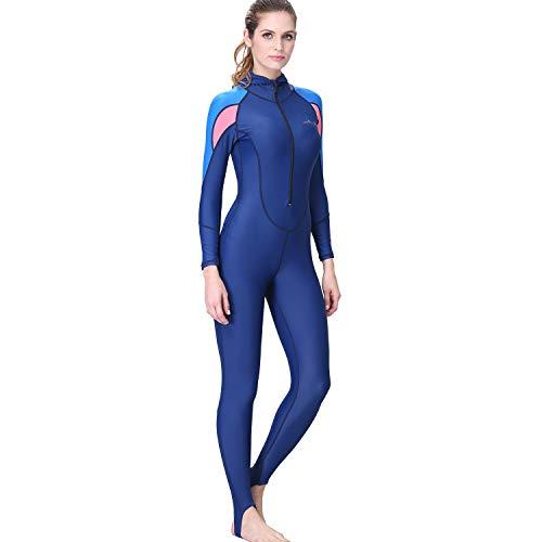 AIni Damen Neoprenanzug,Sport Wetsuit Schwimmen Surfanzug Surfen Tauchen Schnorcheln Surfen Tauchen Einteiliger Ganzkörper Neoprenanzug Badeanzug (XL,Blau)
