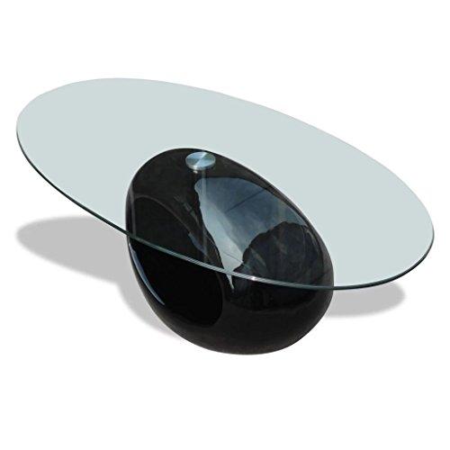 FZYHFA Couchtisch rund aus Glas, Fuß schwarz lackiert 115 x 65 x 40 cm (L x B x H) für Wohnzimmer