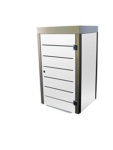 Mülltonnenbox Metall, Modell Eleganza Line mit Pflanzwanne, für eine 240 Liter Tonne in Weiß
