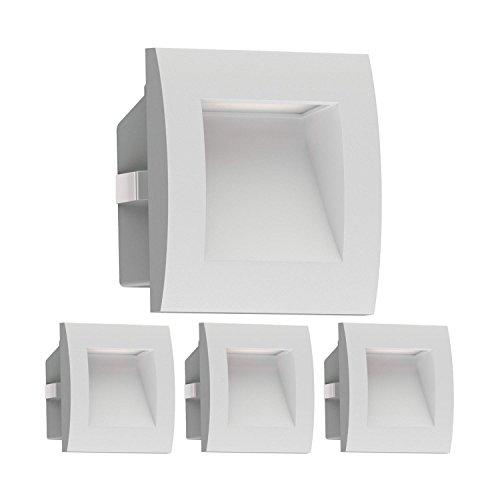 ledscom.de LED Wandleuchte Zibal, Outdoor, warm-weiß, 90x90mm, 4 STK.