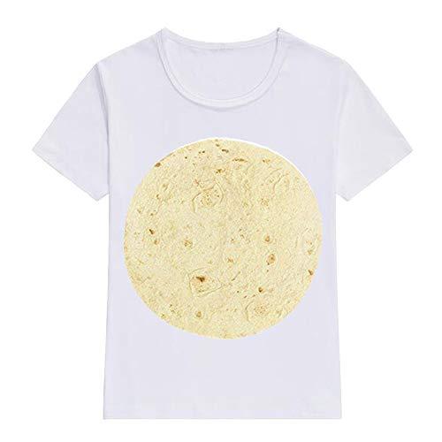 erteile Hemd Lose Unisex lustige Burritos Print Essen O-Neck T-Shirt lose Top Kurzarm Bluse ()