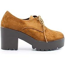9da4bb78725 Zapshop C7760Z Zapato Tacon con Plataforma Blucher de Color Cuero para Mujer