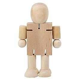 Finitgo Burattino di Legno dei Bambini Giocattoli DIY Bianco di Legno in Bianco Uomo Robot di Legno Bambola per Bambini