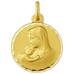 VIERGE ET L'ENFANT - Médaille Religieuse - Or 9 carats - Hauteur: 19 mm - www.diamants-perles.com