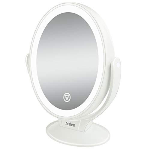 Aesfee Espejo de Maquillaje con Aumento de 1x / 7X, Espejo Cosmético de Doble Cara con Iluminación LED, Rotación 360°con Pantalla Táctil, USB Recargable, Blanco