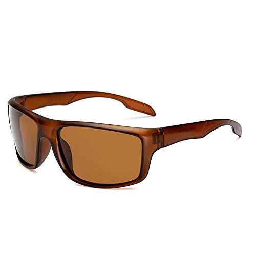 Easy Go Shopping Herren Outdoor-Reitbrille Windschutzscheiben-Sonnenbrille Sportliche polarisierte Sonnenbrille für Herren Sonnenbrillen und Flacher Spiegel (Color : Braun, Size : Kostenlos)