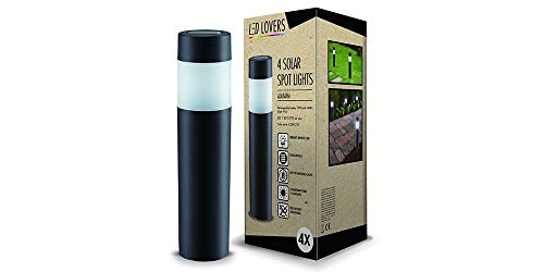 LED LOVERS Poste de Luz Solar LED de jardín, Juego de 4, Lámpara de Pie de Acero inoxidable, impermeable, 27 x 6,3 cm, Para uso al exteriór, camino, terraza, patio