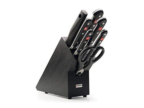 Wüsthof Messerblock Classic (9837-200), 7-teilig, Holz Esche schwarz, Messerset mit 5 Kochmessern, Schere, Wetzstahl, Küchenmesser Set geschmiedet