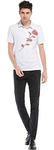 Sportides Herren Casual Dots Lapel Printing Short Sleeve Polo Shirt T_Shirt Tops JZA074 JZA083_White