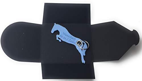 filzschneider Schlüsselanhänger aus Filz - Pferd/Springreiten - hell-blau/EIS-blau - mit Namensgravur als Geschenk, Glücksbringer mit Öse und Schlüsselring - Made-in-Germany -
