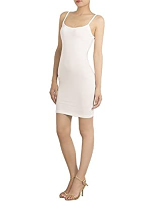 iB-iP Womens Cotton Blend Spaghetti Straps Full Slips Bodycon Mid-Thigh Dress