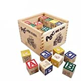 #4: Generic ABC 123 Wooden Blocks Letters Numbers with Box Storage Case, Wooden (27 Pieces)