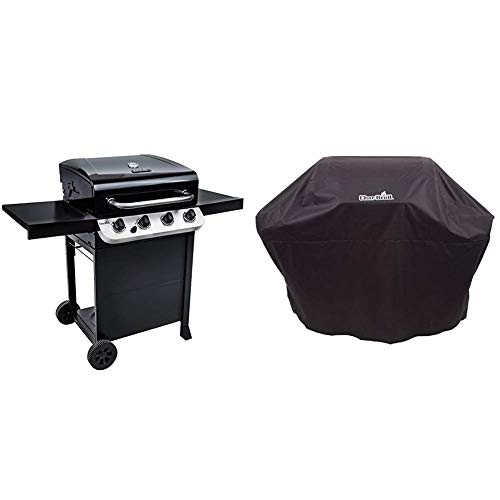 Char-Broil Convective Series 410B - 4 Burner Gas Barbecue Grill, Black Finish with Barbecue Grill Cover, Black