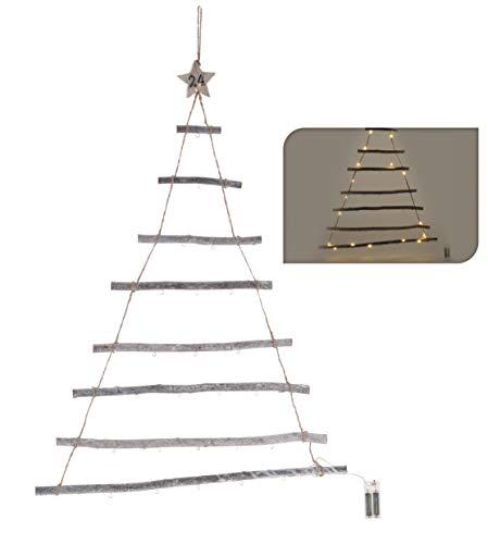 Spetebo Wand Deko Holzbaum 40 LED mit 24 Haken - 100x60 cm - Holz Weihnachtsdeko beleuchtete Hängedeko zum individuellen Dekorieren mit Zierschmuck
