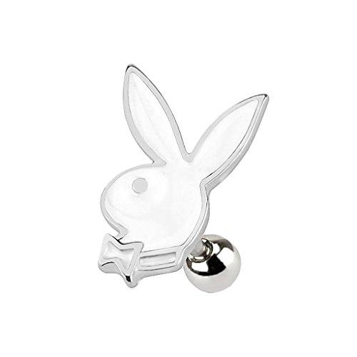 Piercingfaktor Tragus Stecker Ohr Schmuck Helix Piercing Stecker Playboy Bunny Hase Silber/Weiß