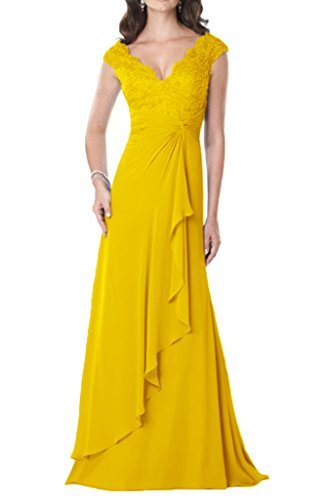 Promgirl House Damen Glamour Mermaid V-Ausschnitt Chiffon Spitze  Abendkleider Ballkleider Lang Gelb 0ac8719ec6