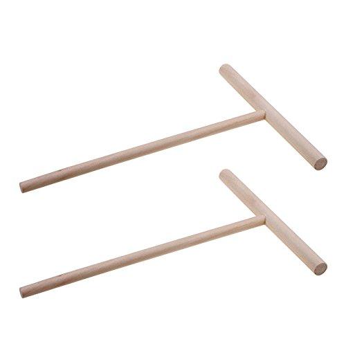 TOOGOO Praktische T-Form Crepe Maker Pfannkuchen Teig Holz Treuer Stick Haus Kueche Werkzeug Kit DIY Verwendung
