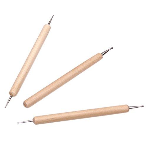 Romote 3Pcs Kugel Stylus-Werkzeug-Set für Embossing Lehm Sculpting - für große Punkte zu machen, glatte Linien in Lehm oder Prägen auf Weichmetall oder Papier -