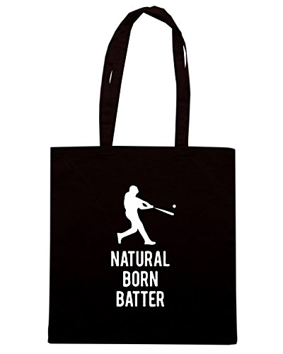 T-Shirtshock - Borsa Shopping WC1177 Natural Born Batter Maglietta Nero
