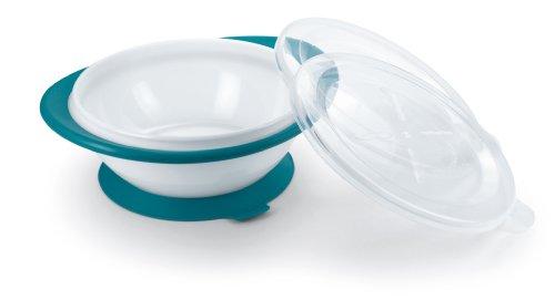 NUK 10255198 Easy Learning Esslernschale für Kinder ab 6 Monaten mit Saugnapf, zwei Deckel, BPA frei, petrol