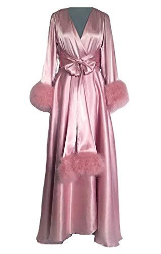 für Damen Plüsch Manschette Volle Länge Dessous Nachthemd Schlafanzug Nachtwäsche Frau Luxus Morgenmäntel Hausmantel Lounge Trägt mit Gürtel ()