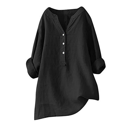 BHYDRY Frauen Solide Stehkragen Langarm Shirt Beiläufige Lose Bluse Button Down Tops(XXX-Large,Schwarz) -