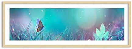 Quadro in Cornice di Legno Coloreee di Coloreee Legno Naturale - Quadro in Cornice - Quadro su Tela - 140x50cm - Numero dell'immagine 4077 - Pronto da Appendere - Completamente incorniciato - F1NAB140x50-4077 070272