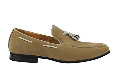 Xposed da uomo in finta pelle scamosciata Tassel loafer Smart Casual formale guida Slip On scarpe Cream