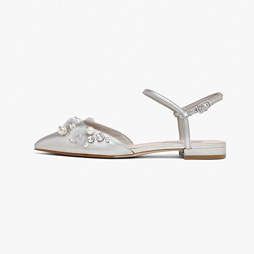 YQQ Flache Schuhe Weibliche Ballettschuhe Sommer Niedrige Ferse Sandalen Dame Mädchen Frauen Schuhe Gemütlich Mode Perle (Farbe : Silber, größe : EU36/UK4) (Silber Niedrigen Ferse)