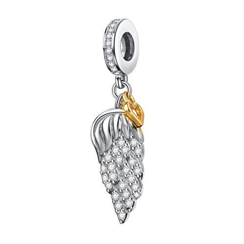 d7c7afdcc JIAYIQI Angel Charm 925 Argent Sterling Plume Pendentif Perle Breloques  Aile Charme avec Or Amour Coeur