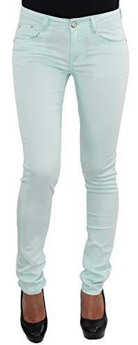 Damen Röhrenhose Stoffhose Hüfthose Stretchhose Hüft Röhre Stretch Skinny Slim Fit Hose Mint 558L-mint