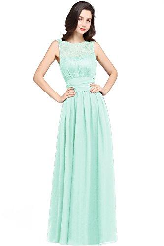 Damen Elegant A-Linie Abiballkleid Chiffon Abschlussballkleid lang Mint Grün 36