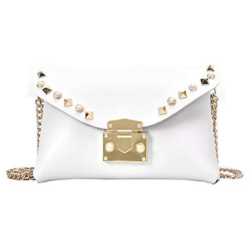 ToDIDAF Umhängetasche Fashion Lady Volltonfarbe Niet Schulter Diagonale Tasche Sport Brusttasche Tasche Weiß -