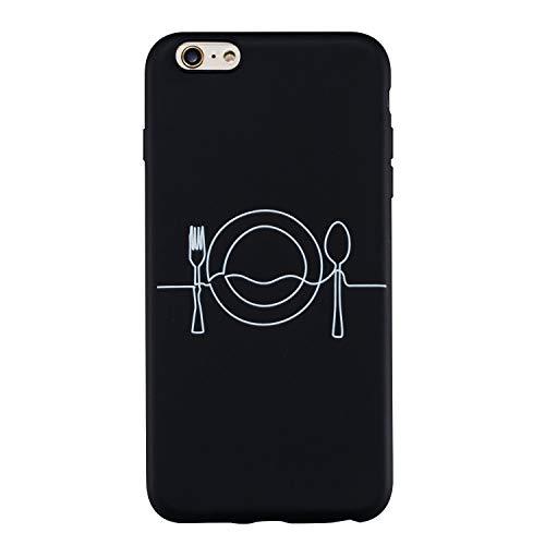 CUAgain kompatibel mit iPhone 6s Plus/iPhone 6 Plus Hülle Silikon Schwarz Muster Lustig iPhone 6s Plus Hüllen Handyhülle Ultra Dünn Gummi Kreativ Einfach Cover Bumper Case Mädchen Damen,Abendessen -