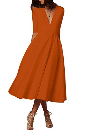 Col V Vintage Femme Maxi Cocktail Orange Omzin Swing Robe 1950 Chic De M k8N0nwOPX