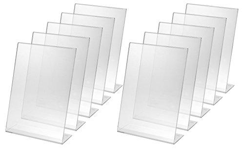 Sigel ta210-10 porta-avvisi da tavolo / porta-brochure da banco, con base a l, acrilico, per a4, 10 pz.