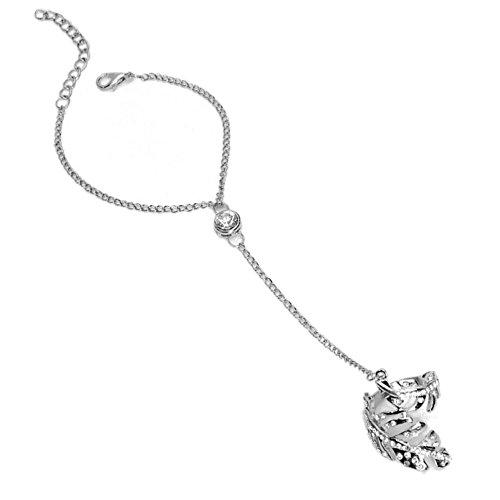 Kristall Leaf Vine Charme Armband Armreif Open Finger Ring Hochzeit Schmuck Set Geschenk für Frauen Mädchen