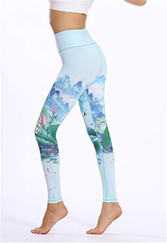FDHNDER clothes Yogastunde-Die Leggings -Laufhose Damen-Sporthose Fitnesshose-Leggins Stretch-Hose Lauf-Tights Yogahosen Frauen Print Elastic Slim Cropped Pants, Grün, L (Green Set Pant Cropped)