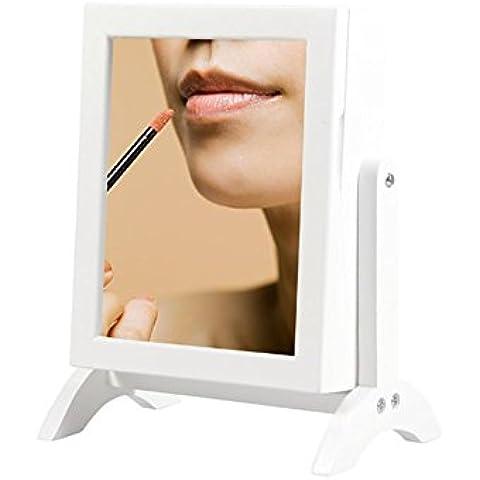 Rettangolare Mini tavolo di legno Specchio da toilette Multi-stoccaggio di monili / anelli, collane,