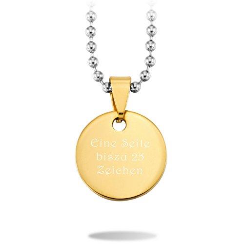 MeMeDIY 20mm Golden Ton Edelstahl Runde Kreis Circle Anhänger Halskette,mit 58cm Kette Gravur