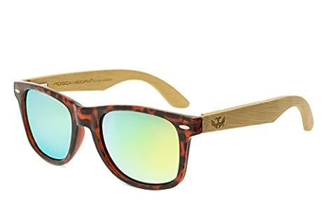 Lunettes en bois MOSCA NEGRA, modèle MIX LEOPARD wood sunglasses