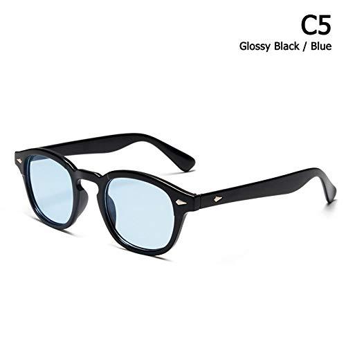 ZHOUYF Sonnenbrille Fahrerbrille Mode Johnny Depp Lemtosh Stil Tönung Ozean Objektiv Sonnenbrille Vintage Klassische Runde Marke Design Sonnenbrille Oculos Sol, E