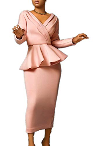 MISOMEE Damen Solid Tief V Kragen Peplum Bodycon Kleid Rosa XL -